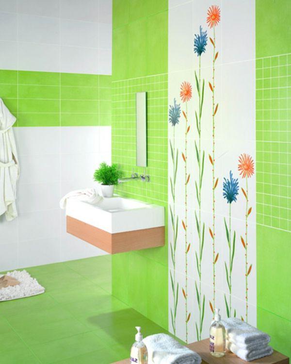 Fliesengestaltung im Bad Badezimmer Bilder grün farbe BAD - fliesengestaltung bad