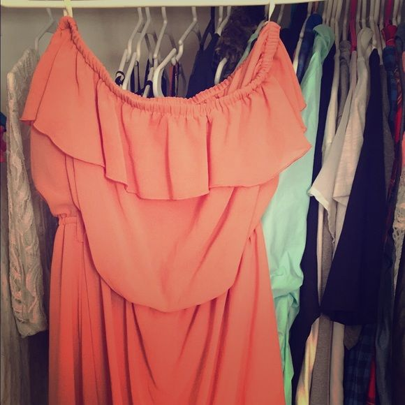 Coral strapless dress Worn once Dresses High Low