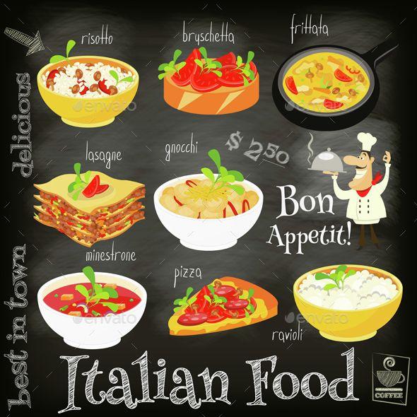 Download Free Graphicriver              Italian Food Menu            #background #blackboard #Bruschetta #cartoon #chalk #cheese #chef #cuisine #design #dinner #dish #food #frittata #Gnocchi #illustration #italian #lasagna #Lasagne #lunch #macaroni #meal #menu #Minestrone #pasta #pizza #ravioli #red #Risotto #vector #white