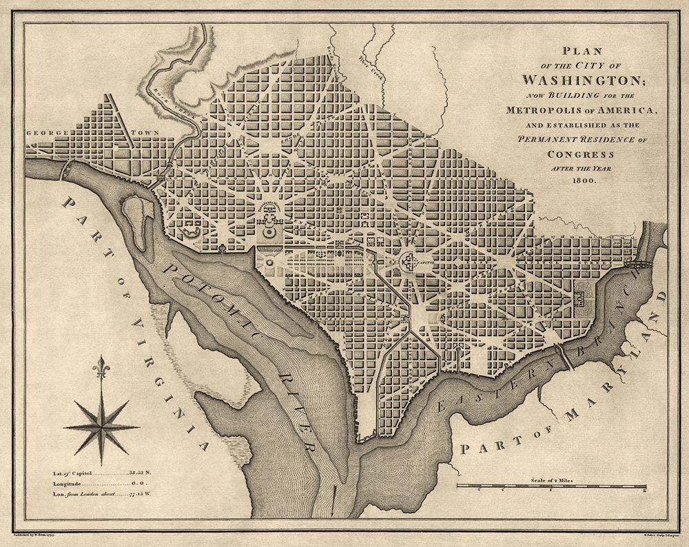 Washington DC  Map Showing Fan Plan Like Karlsruhe - Washington dc map layout