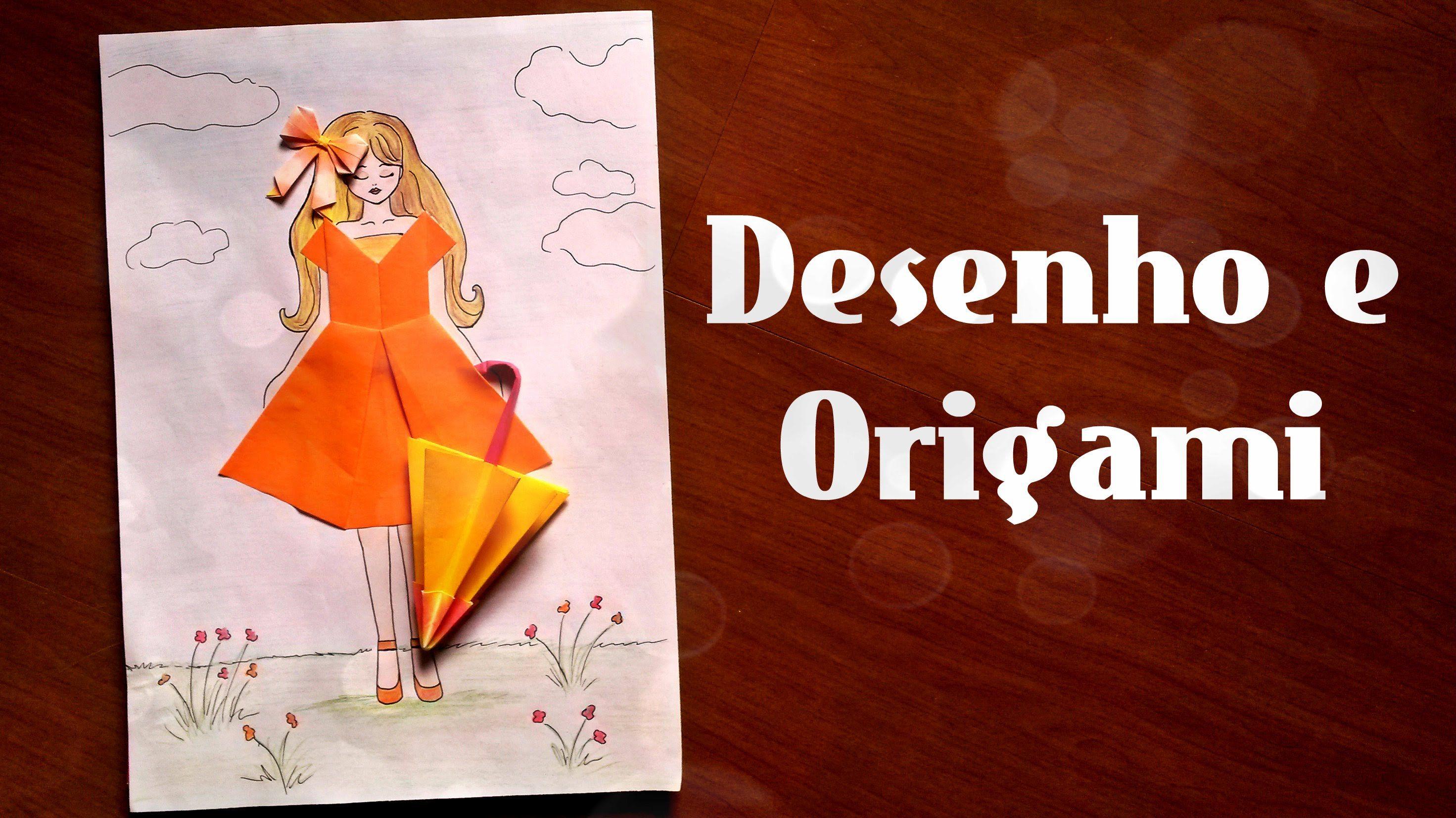 Como Desenhar Menina Colagem De Origamis Vestido Sombrinha Laco Origami Desenho Sombrinha