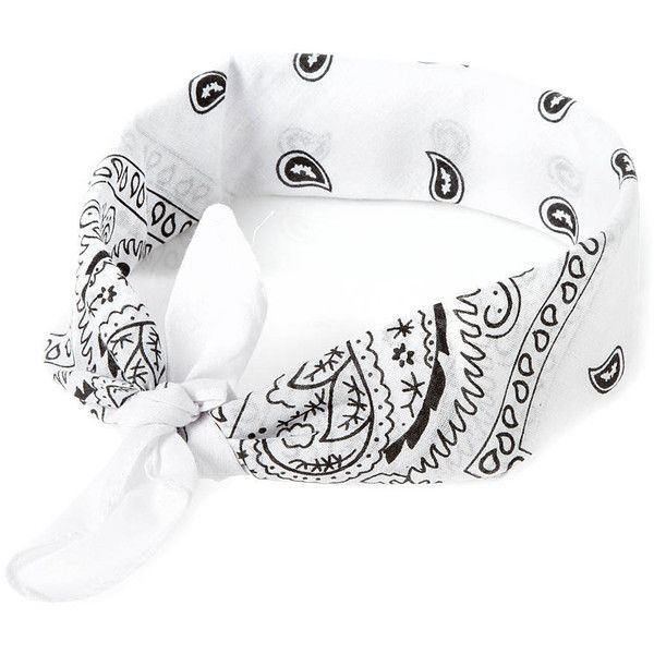 White Paisley Bandana 3 in 1 Headwrap (99 MXN) ❤ liked on Polyvore  featuring accessories 284691389b5