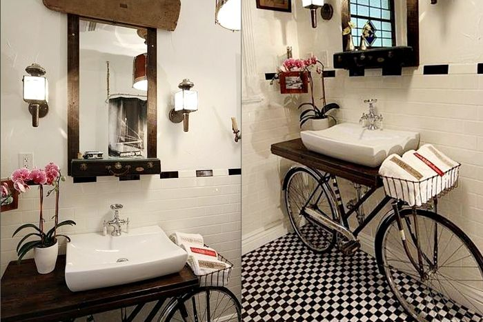 Creative recycling for the bathroom: the bike vanity - DIY - Riciclo creativo...