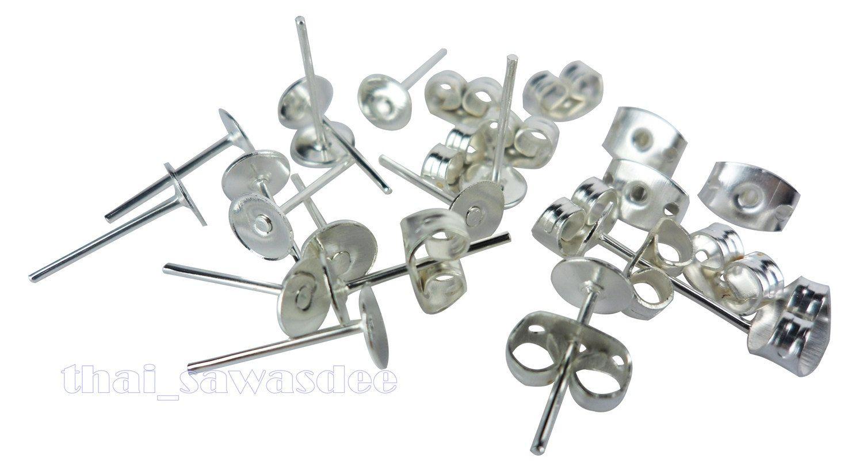 15 Pairs Earrings Pins Pairs Stud Findings Back Lock Post Pad Blank Craft