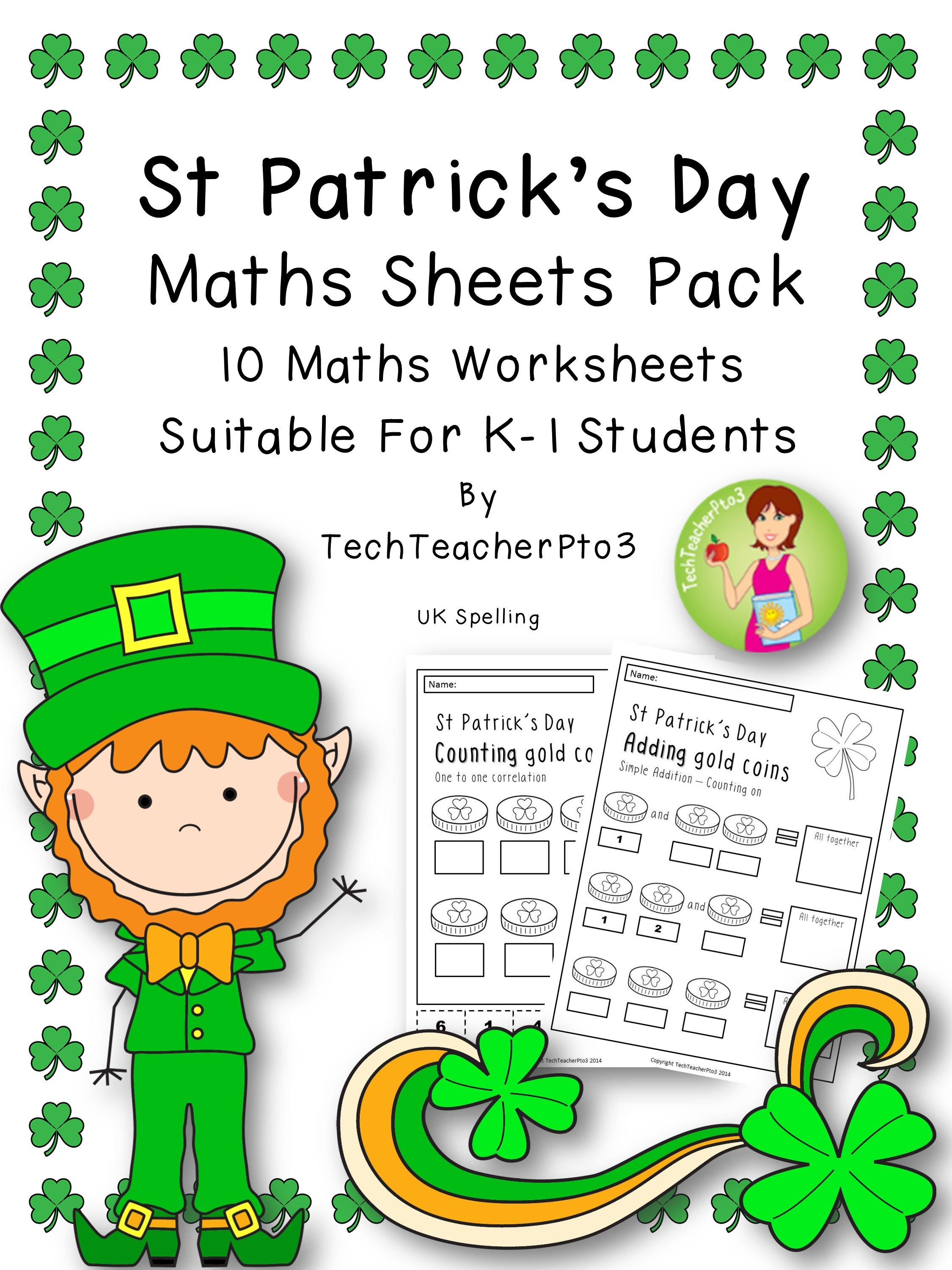 St Patrick's Day Maths Sheets Pack - UK Spelling.