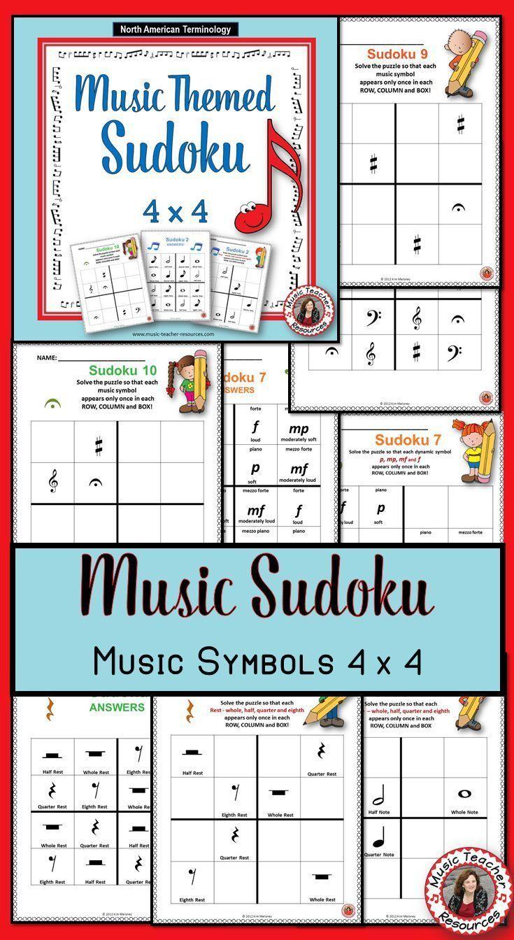 Music Games: SUDOKU 4 x 4 Music Worksheets: Music Quiz | Pinterest