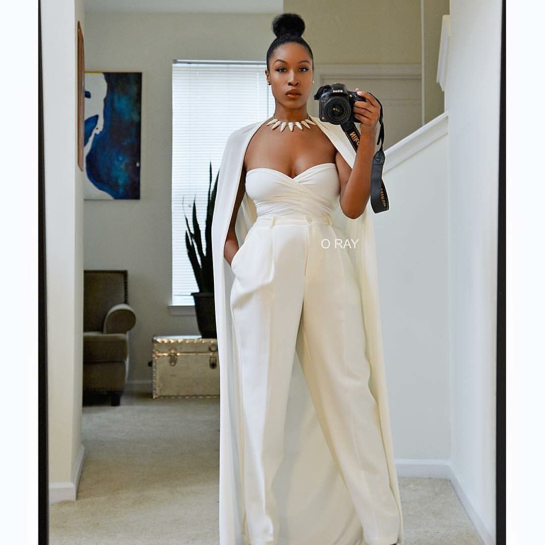 Tailored All White Bridal Jumpsuit With Cape