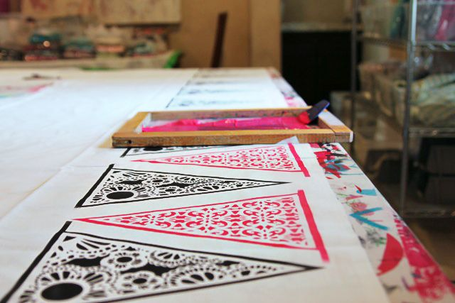 Printed Bunting, Love The Idea Of Screen Printing Using Another Material As  A Stencil.