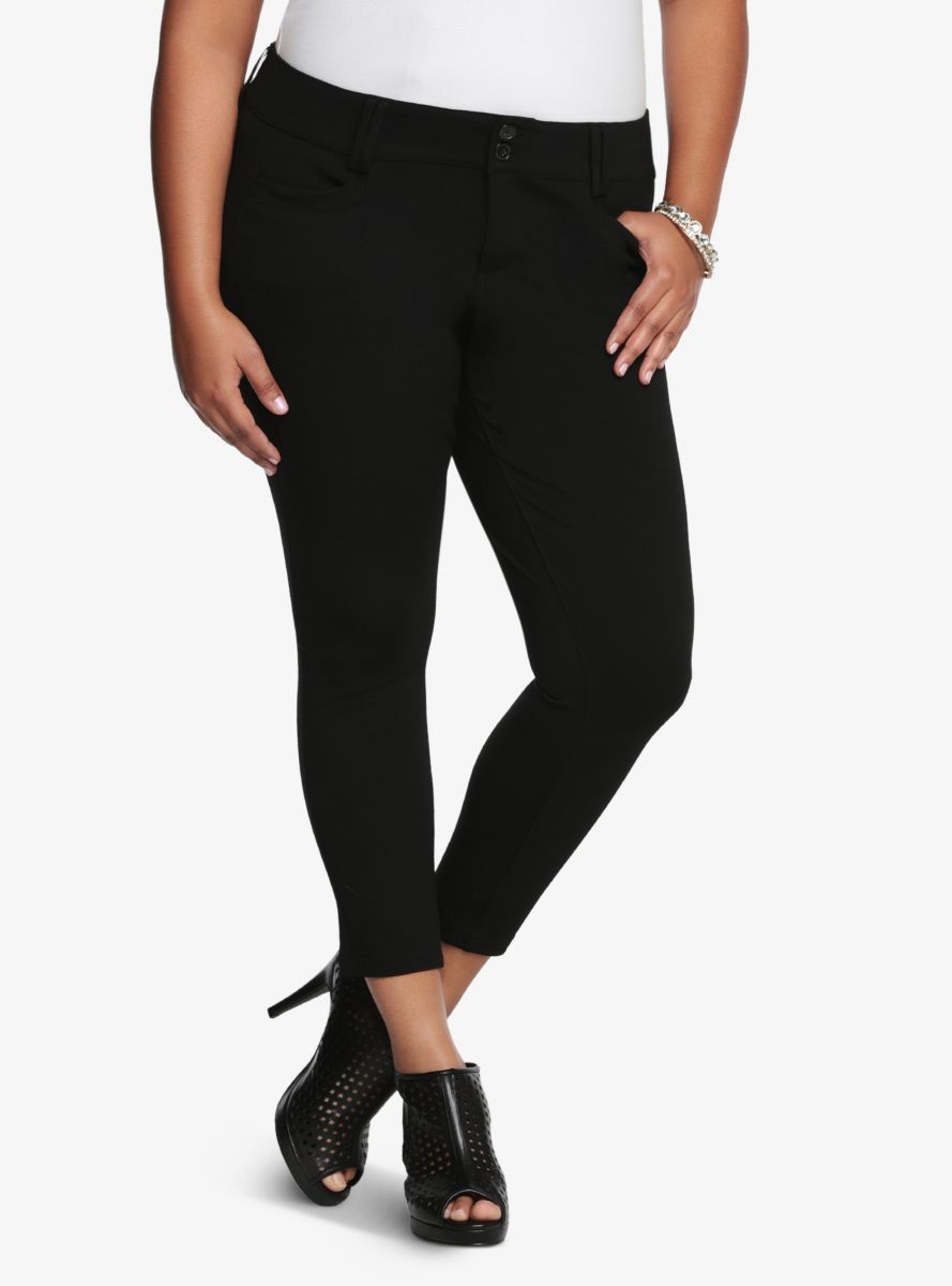 8896e96fde9 Studio Signature Ponte Stretch Ankle Skinny Pant - Black
