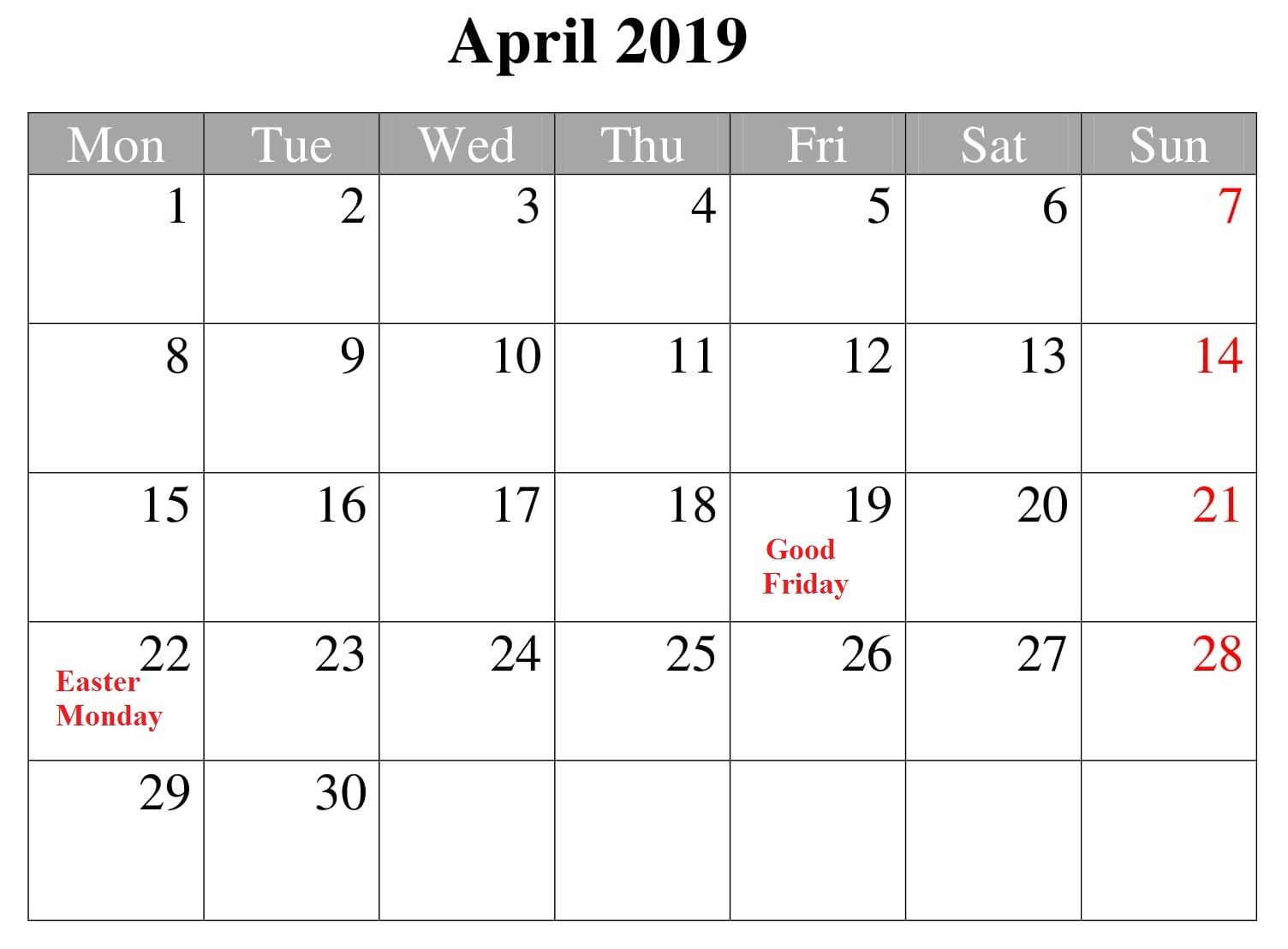 Free April 2019 Calendar With Holidays (With images