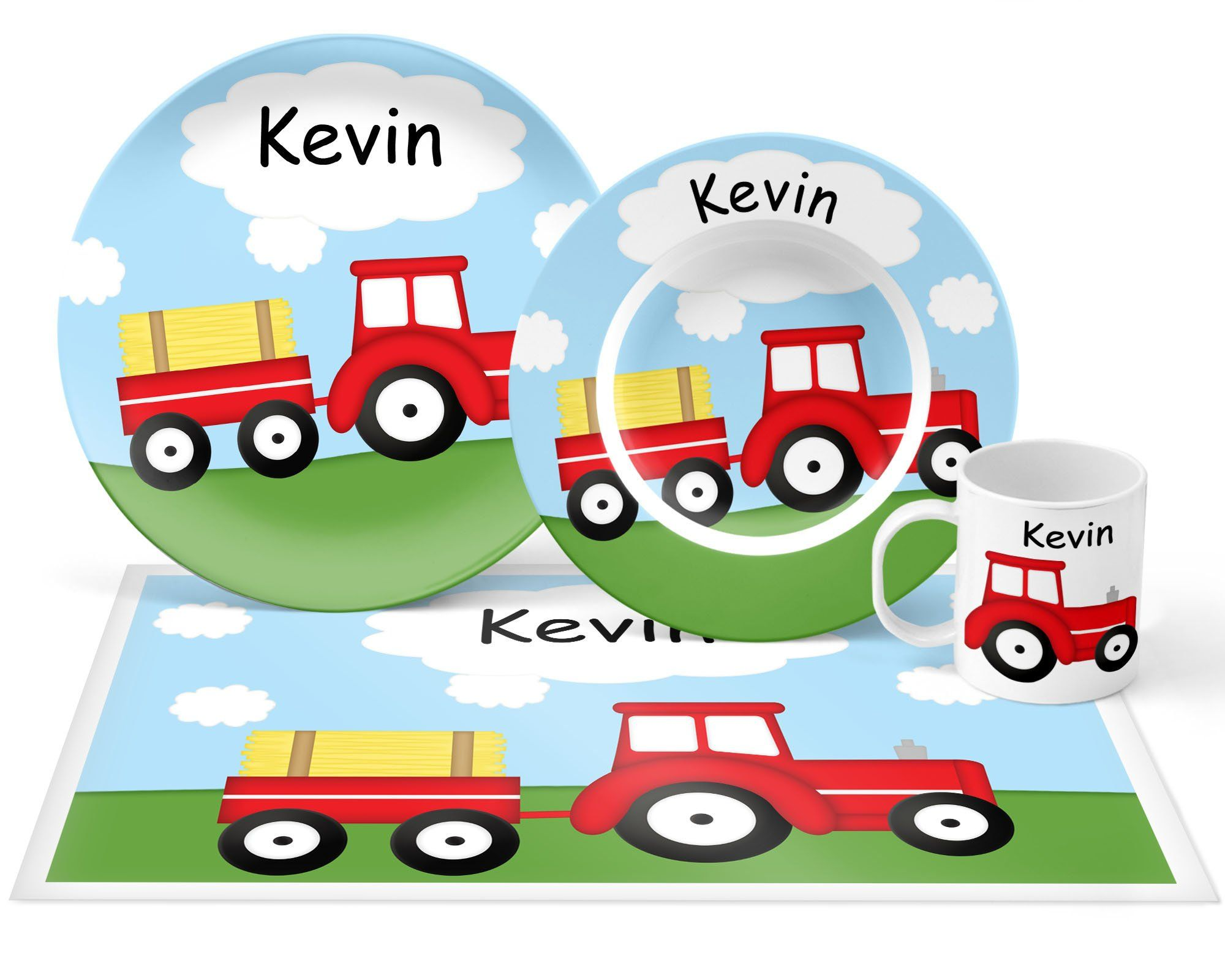 Tractor Red Plate Set Personalized Kids Plate Bowl Mug Placemat Tractor Plate Set Kids Plastic Tableware Microwave Safe Kids Plates Red Plates Plate Sets
