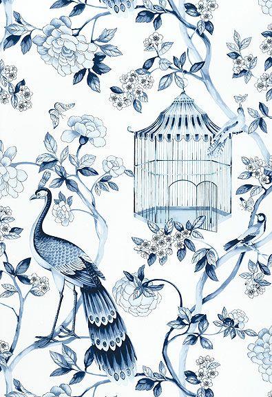 5004081 Oiseaux Et Fleurs Porcelain By Schumacher Blue White