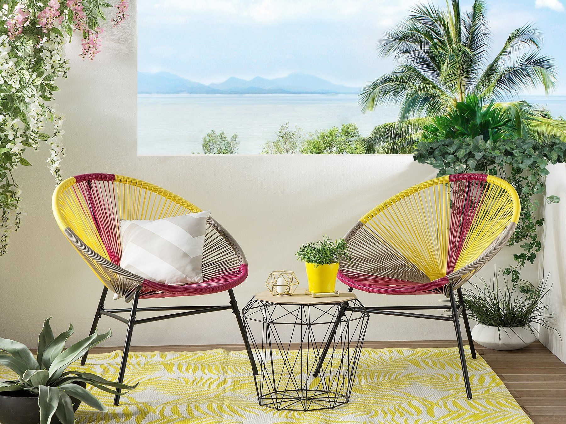 Set Of 2 Accent Chairs Multicolour Yellow Acapulco Blue Accent