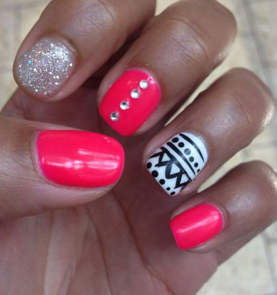 Hot Pink And Black And White Tribal Nails Pinterest Hot Pink