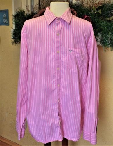 American-Eagle-Outfitters-XL-Shirt-Pink-White-Pinstripe-Button-Front-Vintage-Fit