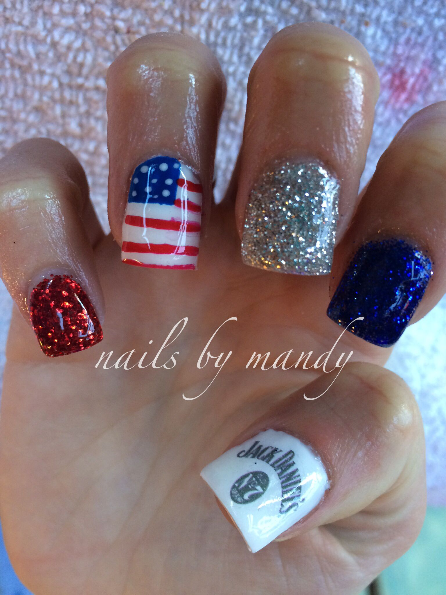 Jack Daniels and 4th of July gel nails   Nails I\'ve done   Pinterest ...