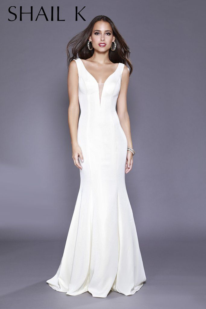 19599d4872 Plunging Neckline Ivory Mermaid Style Prom Dress 33932 in 2019 ...