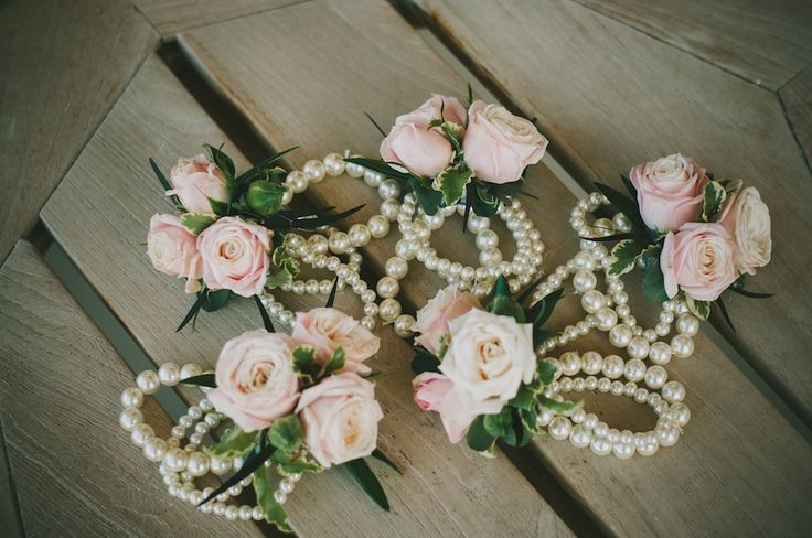 Blush Wedding Flower Corsage Pearl Bracelet Flowers Utah