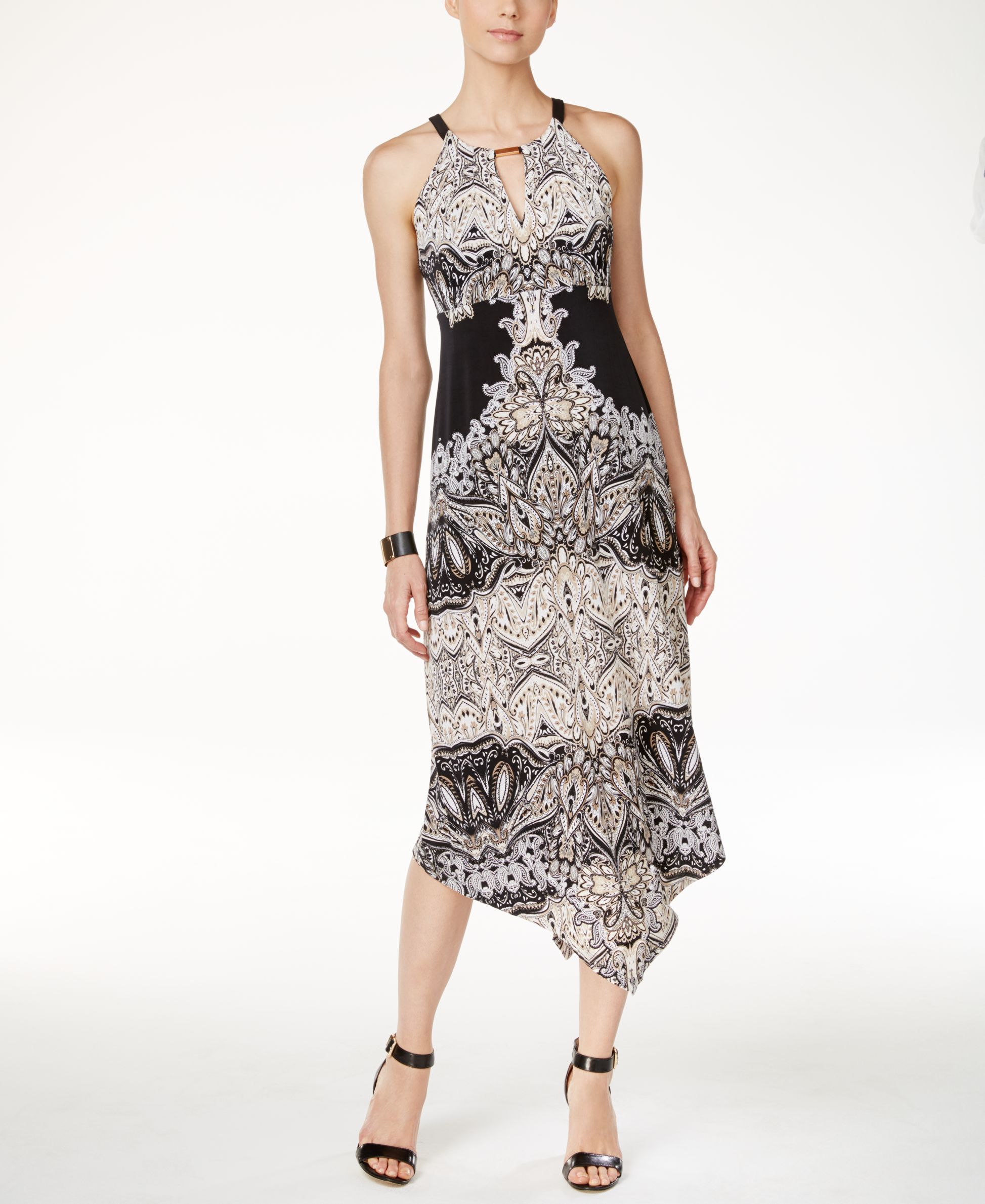 INC International Concepts Printed Keyhole Maxi Dress Couture Paisley XXL