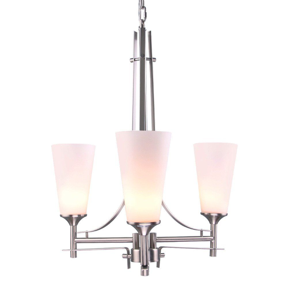 Lnc Modern Chandelier With Brushed Nickel Finish Frosted Glass Shade