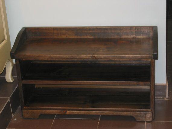 Attractive Shoe Cubby Bench / Dark Walnut Storage Bench / Wood Storage Bench / Shoes  Rack / Entry Way Storage