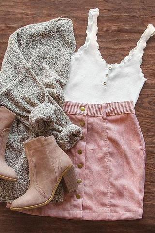 Sara Snap Front Corduroy Skirt - Blush