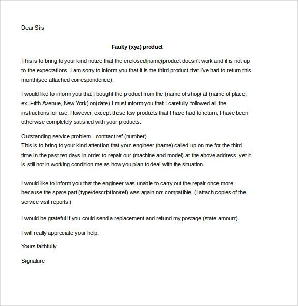 complaint letter for refund