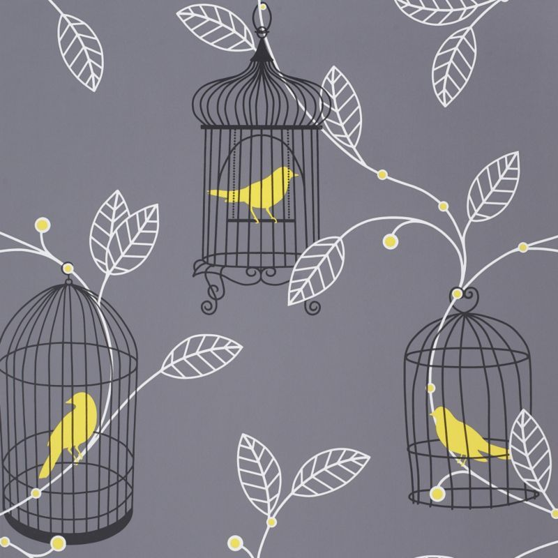 Yellow Gray And White Bedroom: Grey & Yellow Wallpaper - B&Q