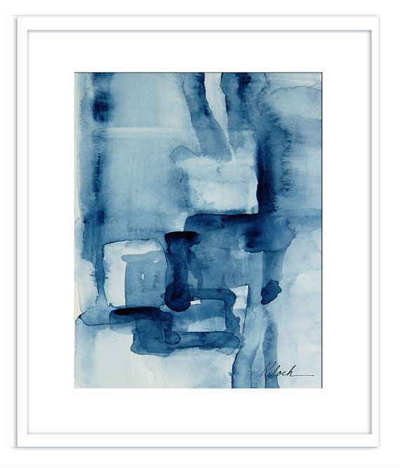 Small Minimalism Watercolor Abstract Painting By Victoriakloch