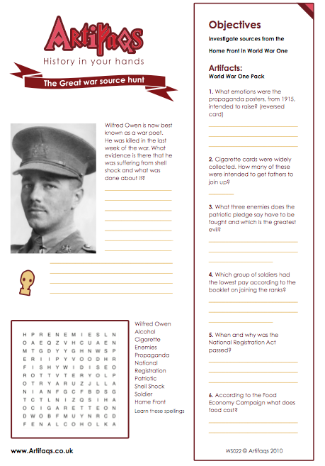Free Worksheet The Great War Source Hunt Objectives