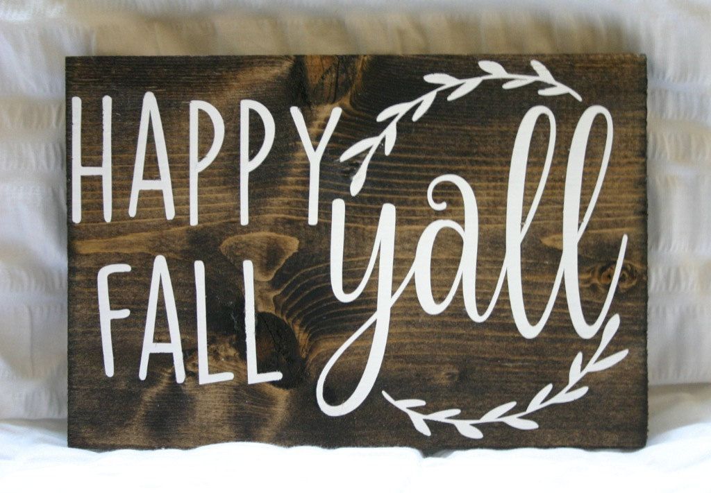 Happy Fall Yall! {Fall Decor Wooden Sign} by VelleDesigns on Etsy
