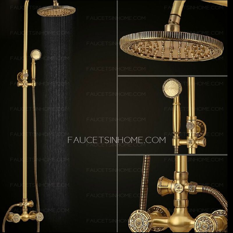 Vintage Gold Copper Shower Faucet Thick Top Shower | Finishing ...