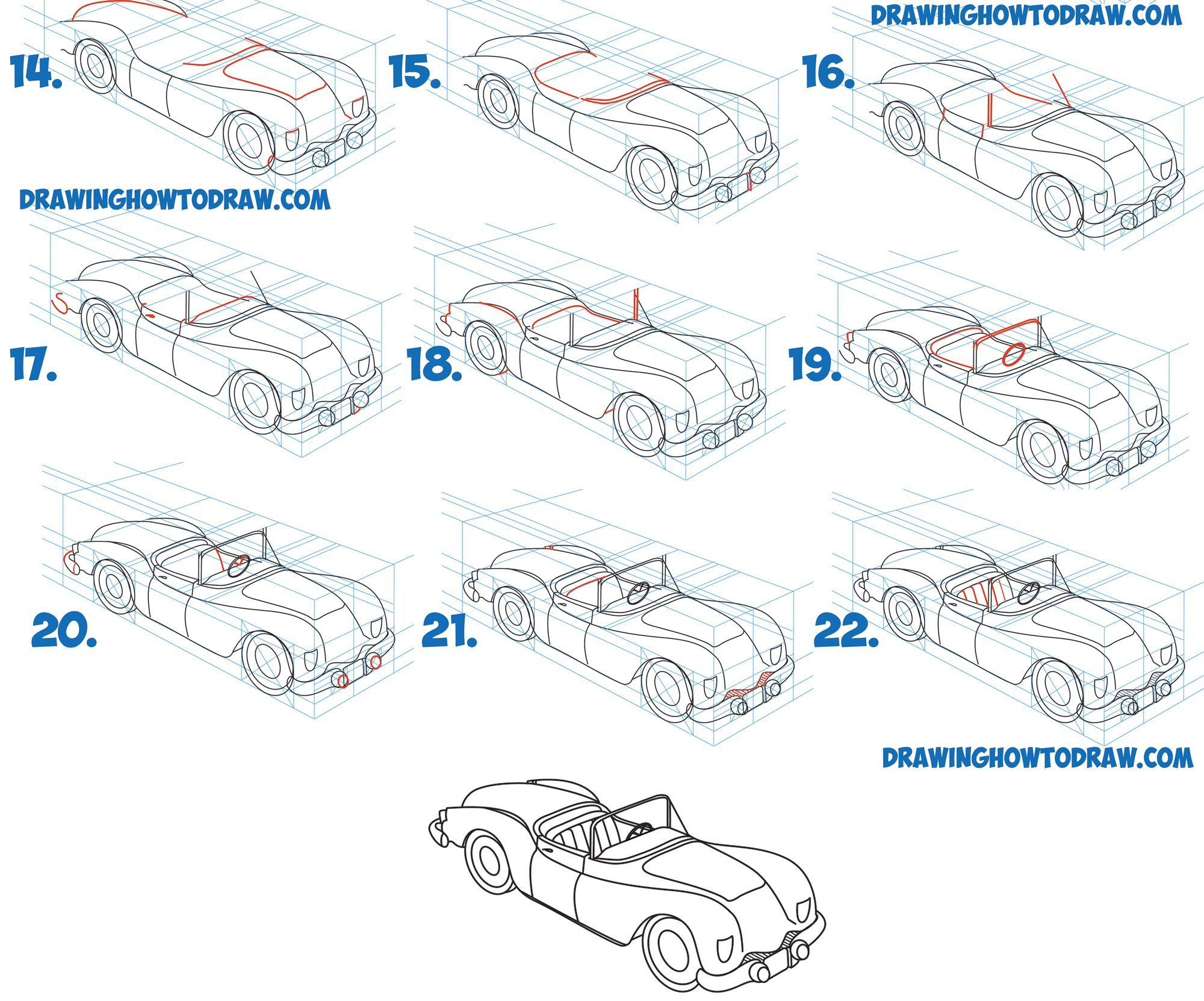learn how to draw a car convertible in 2 pt perspective in simple steps drawing lesson