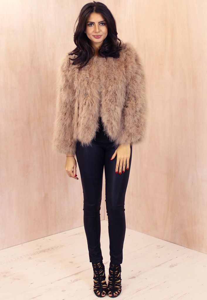 e932723b6bd Fluffy Ostrich Feather Marabou Jacket in Nude - One Nation Clothing - One  Nation Clothing - 1
