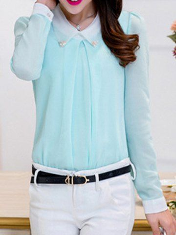 $10.32 Color Block Casual Flat Collar Long Sleeve Chiffon Blouse For Women