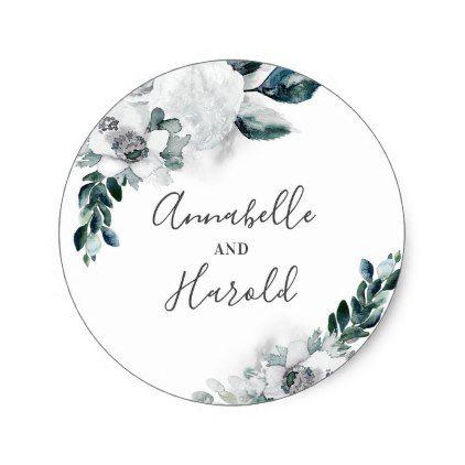 Natural white flowers elegant wedding classic round sticker round stickers wedding stickers and wedding