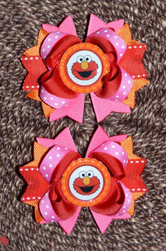 Elmo Inspired Boutique Hair Bow Hair Clip by buddhabelly10 on Etsy