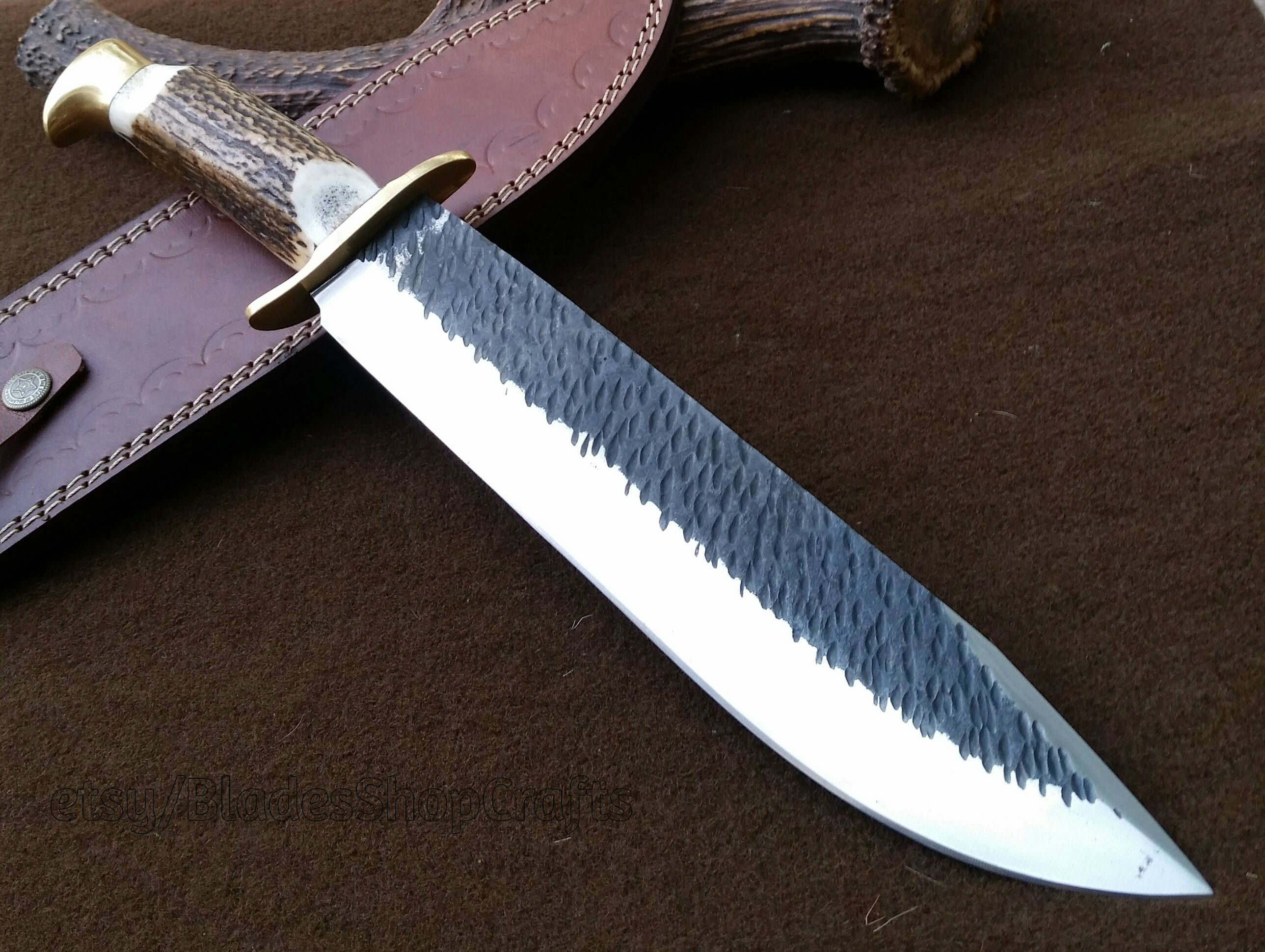 16 Big Bowie Custom Made 1095 Steel Forged Blade Stag Horn Hunting Bowie Knife By Ag Bowie Knife Knife 1095 Steel