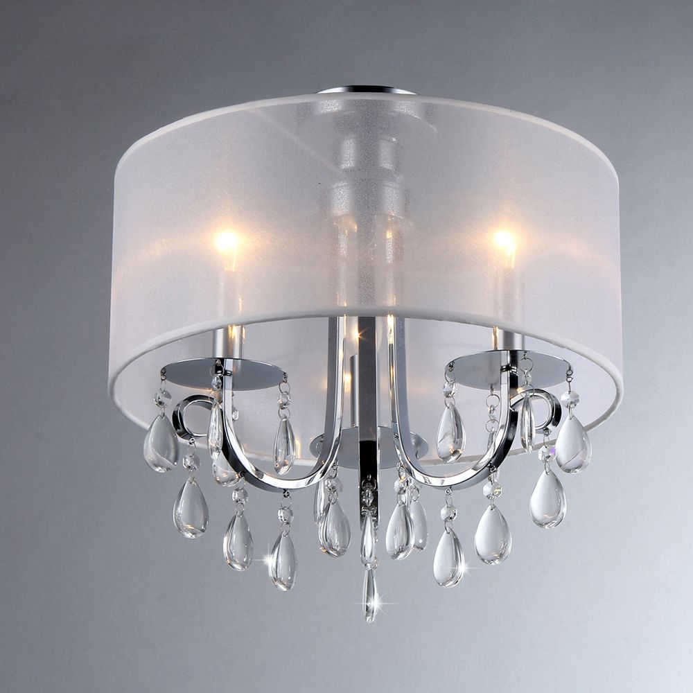 Hanging This Stylish Chrome Chandelier Is A Great Way To Dress Up Your Dining Room Before Big Party The Soft Fabric Shade Ters Light Create