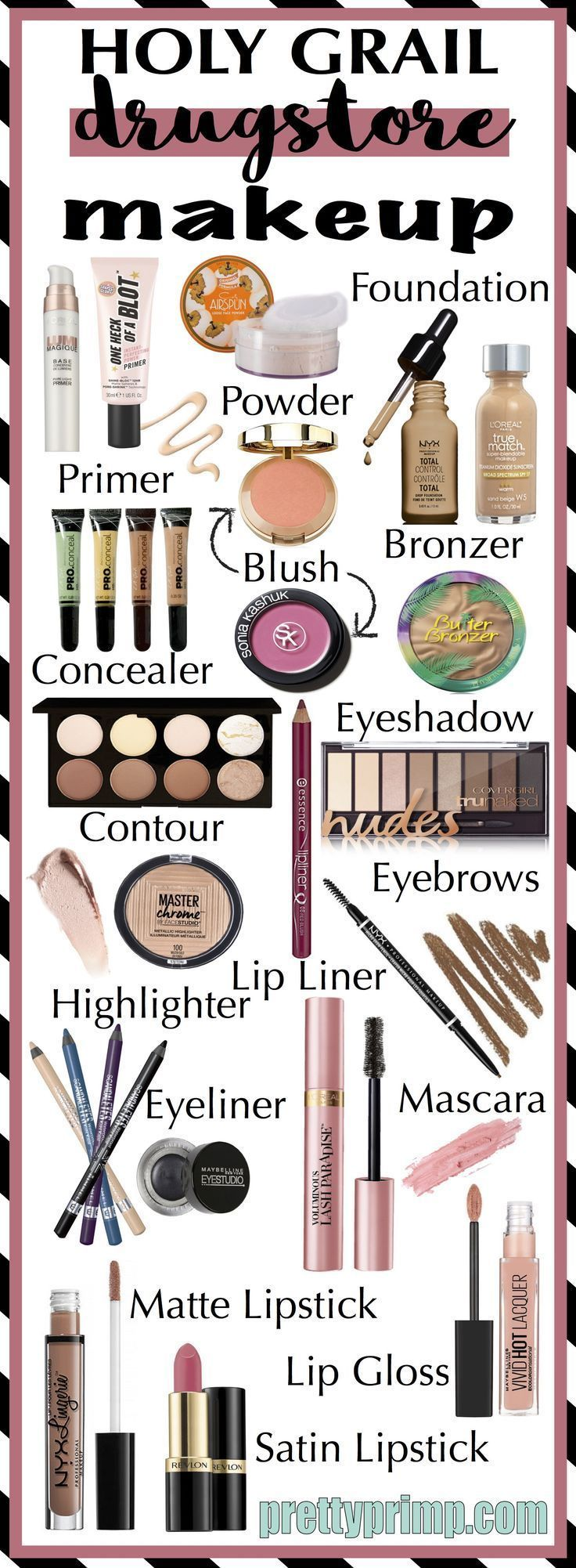 The complete list of must have drugstore makeup. This list