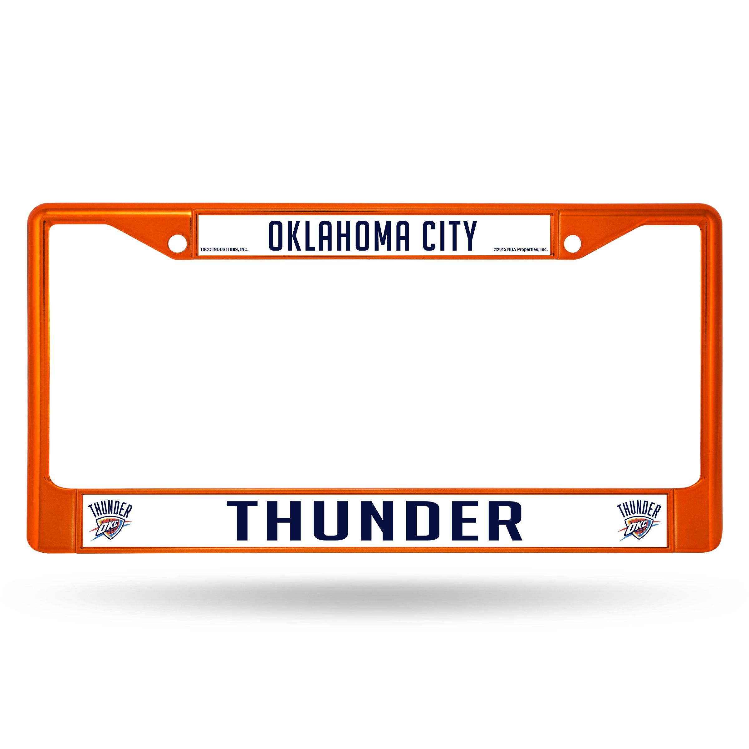 Oklahoma City Thunder Metal License Plate Frame Orange