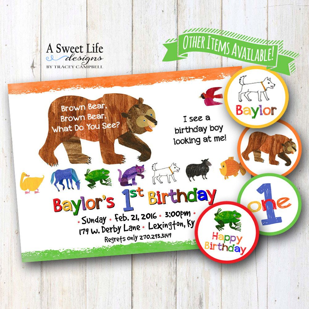 Brown Bear, Brown Bear Birthday Party Invitation & Cupcake Toppers ...
