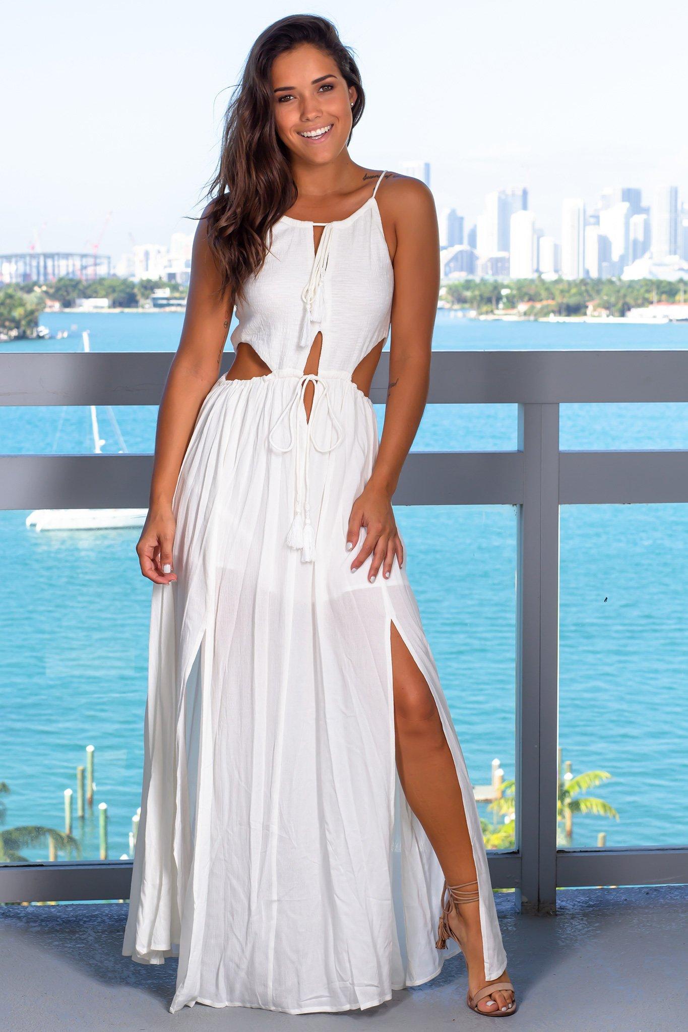 Ivory Maxi Dress With Waist Cutouts Ivory Maxi Dress Maxi Dress Cutout Maxi Dress [ 2047 x 1365 Pixel ]
