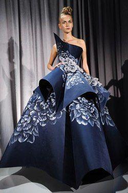 Structure Couture Designer Blue Dress Floral Fashion Gowns Fancy Frocks Crazy Dresses