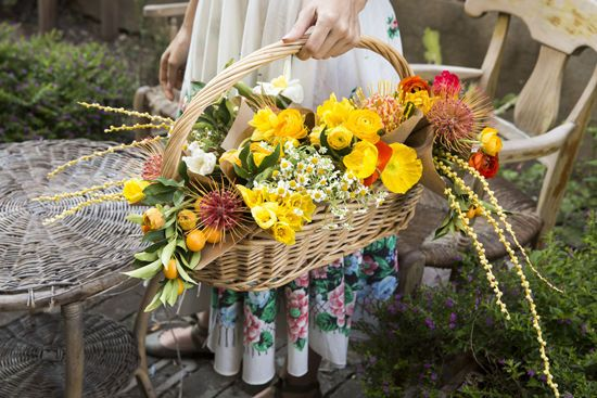 A basket overflowing with flowers would make the loveliest