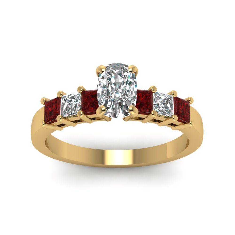 Princess and cushion diamond stone ring cushion cut diamond and