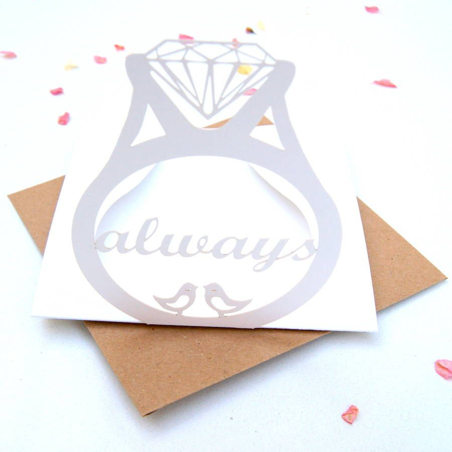 Engagement Card Laser Cut Ring Pop Up Card