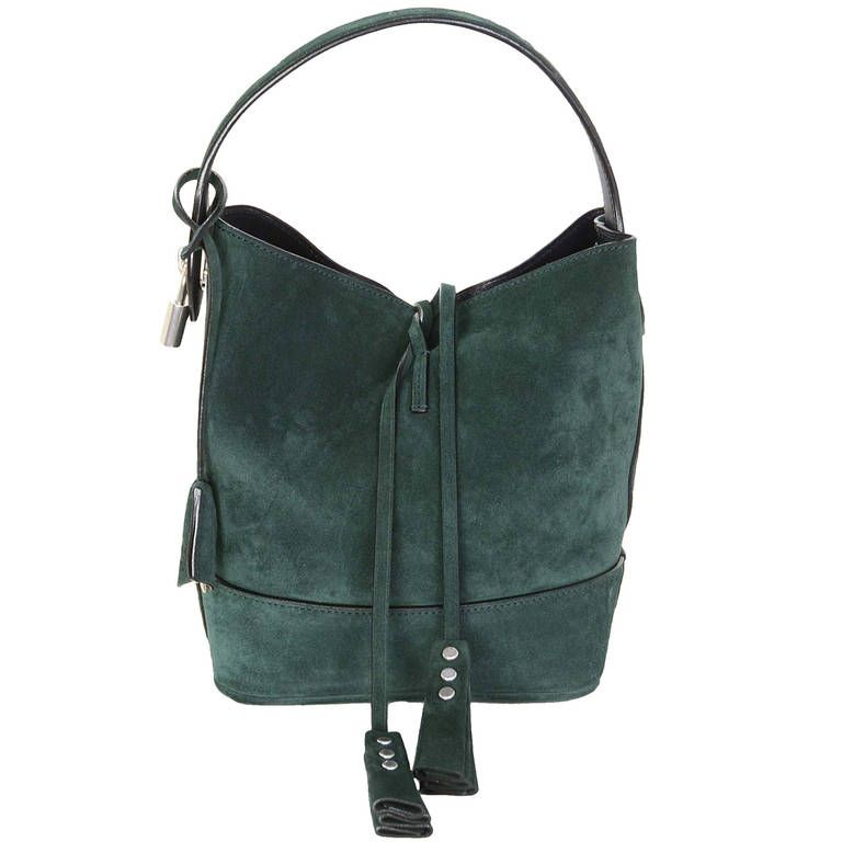 Louis Vuitton Runway Green Suede Nn14 PM Drawstring Bag | From a collection of rare vintage shoulder bags at https://www.1stdibs.com/fashion/handbags-purses-bags/shoulder-bags/