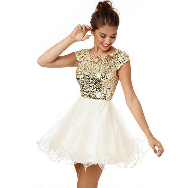 Nice Sexy Glitter Gold Sequin Short Homecoming Dresses Short ...