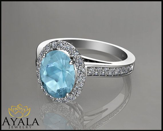 14K White Gold Oval Aquamarine Halo Ring  by AyalaDiamonds on Etsy $1390